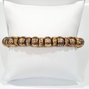 Vintage 8mm Gold Bead Stretch Bracelet